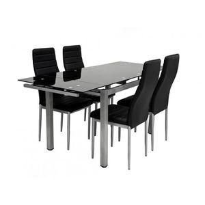 Table a manger noir laque achat vente table a manger for Table chaise noir