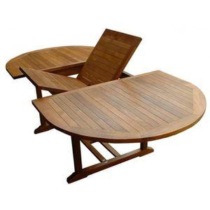 Magnifique table ovale en teck massif huil e 10 12p for Longueur de table pour 10 personnes