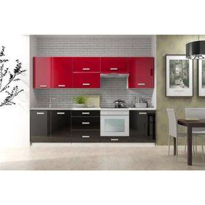 Meuble de cuisine rouge et noir achat vente meuble de for Meuble cuisine rouge pas cher