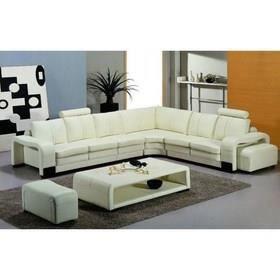 canap d 39 angle en cuir blanc 2 poufs et 2 t tiere achat. Black Bedroom Furniture Sets. Home Design Ideas