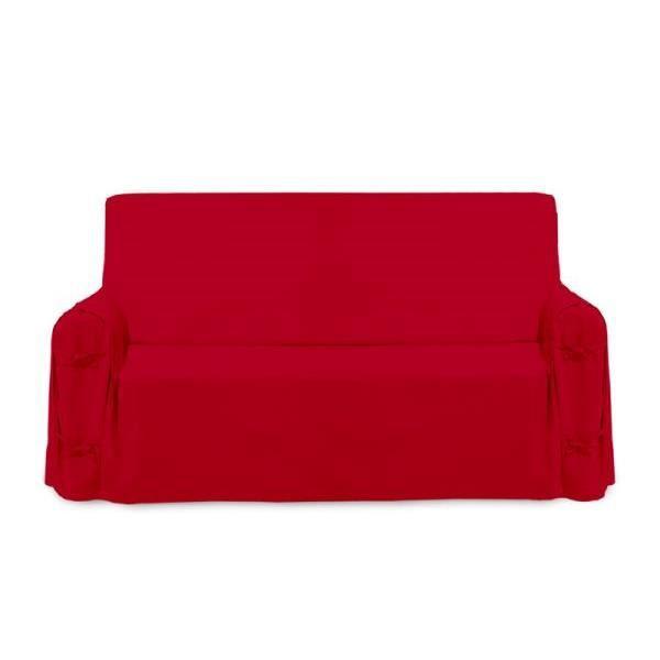 Housse de canap panama rouge 100 coton achat vente for Teindre une housse de canape