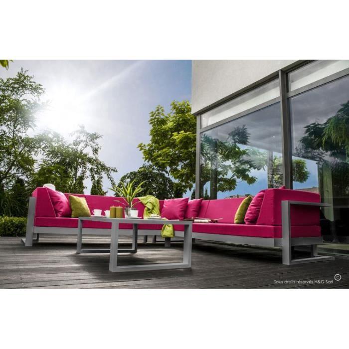 Salon de jardin 6 places angle gauche toscane gris alu for Salon de jardin boule