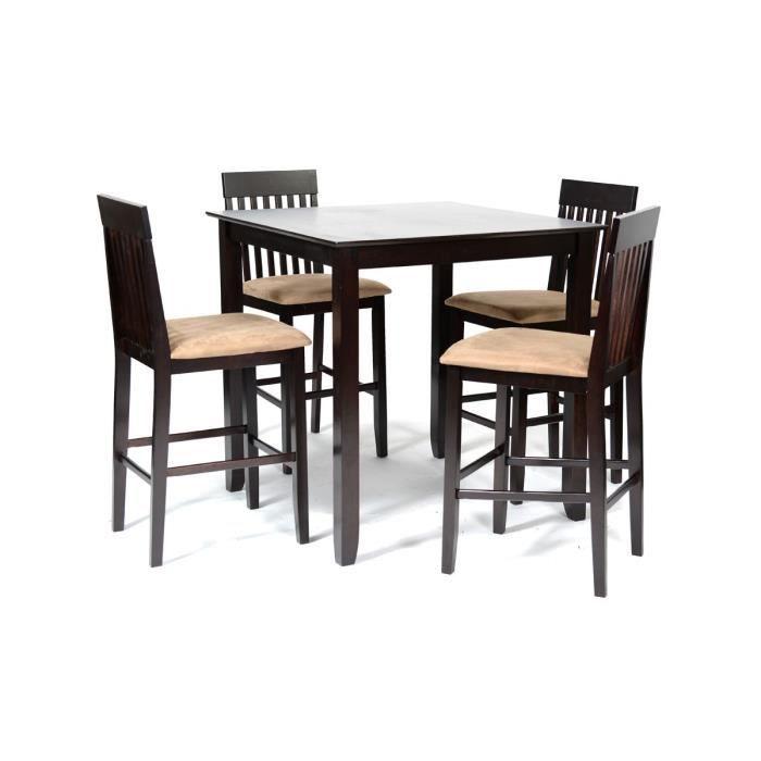 Dublin ensemble table haute 4 chaises hautes marron for Table haute avec chaises encastrables