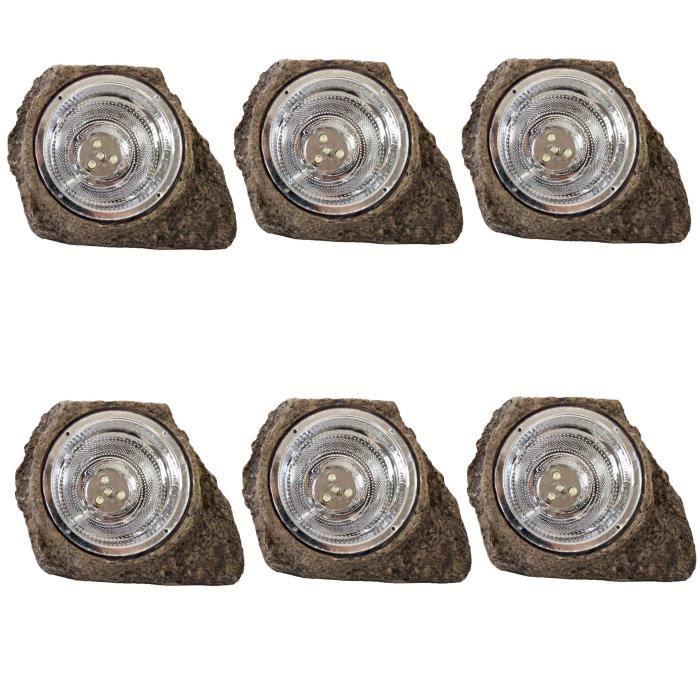 6x lampe ext rieure hw143 aspect pierre grise lampe for Balise solaire jardin