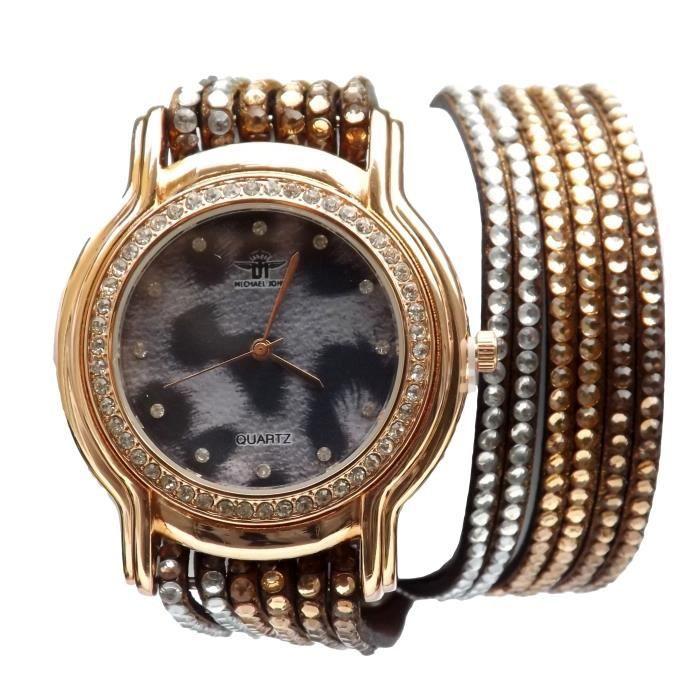 montre bracelet femme double tour l opard strass tendance achat vente montre soldes d t. Black Bedroom Furniture Sets. Home Design Ideas
