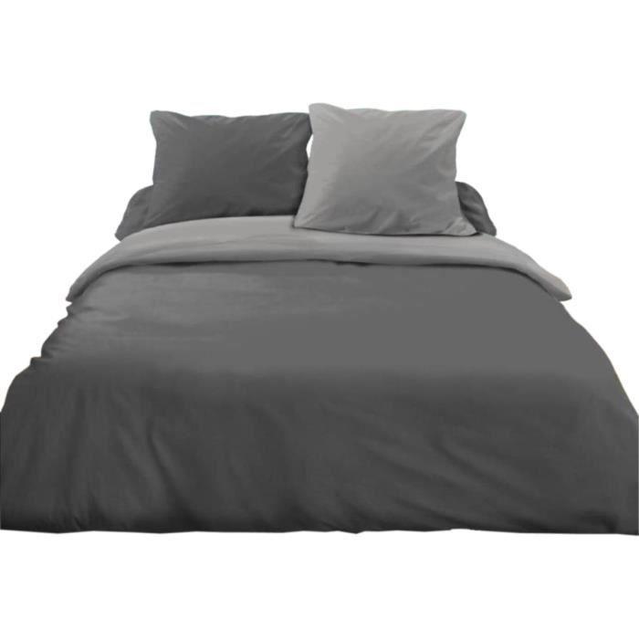 parure de lit 3 pi ces gris clair gris fonc achat vente parure de drap cdiscount. Black Bedroom Furniture Sets. Home Design Ideas