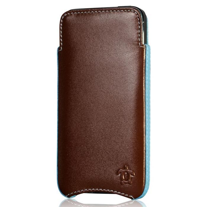 Tui pour iphone 5 cuir chocolat turquoise co achat for Housse iphone 5 cuir