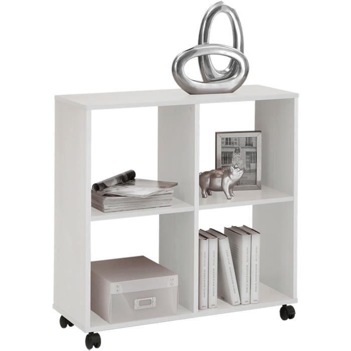 biblioth que sur roulettes avec 4 casiers coloris blanc l72 x h78 x p33 cm achat vente. Black Bedroom Furniture Sets. Home Design Ideas