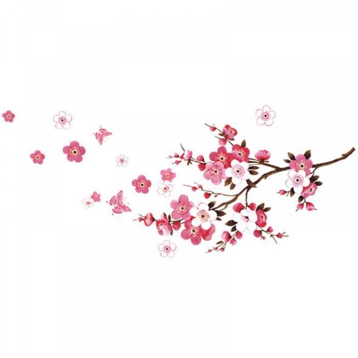 Fleur de cerisier affiche de mur tanche autocollant de fond pour chambre caf - Mur de fleur interieur ...