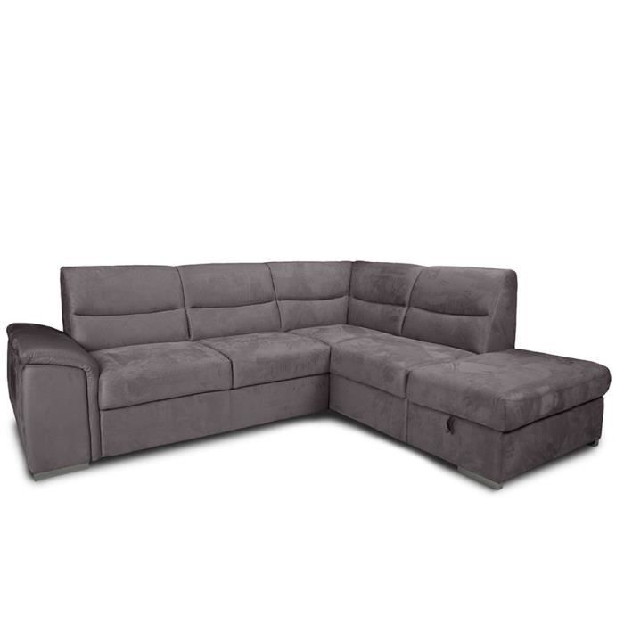 Canap d 39 angle convertible gris tissu gonzo 2 angle droit achat vente canap sofa divan for Canape angle droit tissu lille