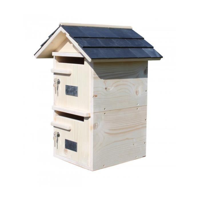 boite aux lettres bois double toit prestige achat. Black Bedroom Furniture Sets. Home Design Ideas