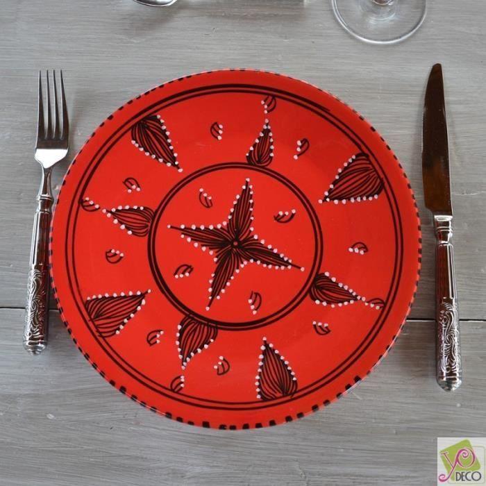 Service de table tatou rouge 6 pers achat vente for Service de table rouge