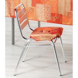 Galette de chaise 4 rabats ryad orange achat vente - Galette de chaise avec rabat ...