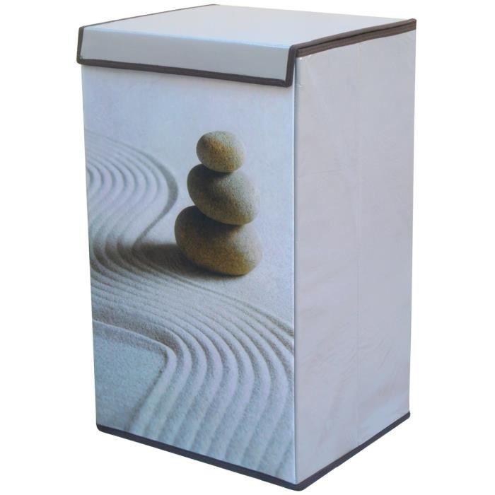 Meuble zen panier au linge lessive sale galets achat for Meuble zen