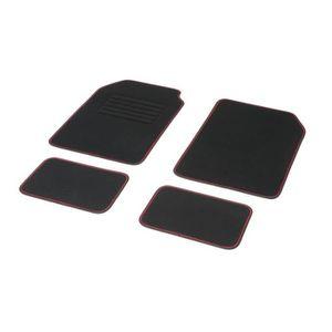DBS Jeu de 4 Tapis Moquette Aiguilletée 550 gr/m2 Noir avec Ganse Noir et Rouge