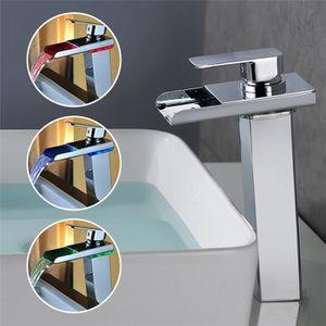 Vasque salle de bain bleu achat vente vasque salle de - Robinet de salle de bain mitigeur a cascade avec led ...