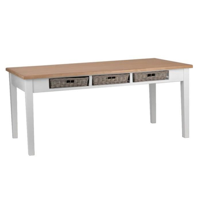Table blanche plateau bois massif achat vente table a for Table a manger blanche