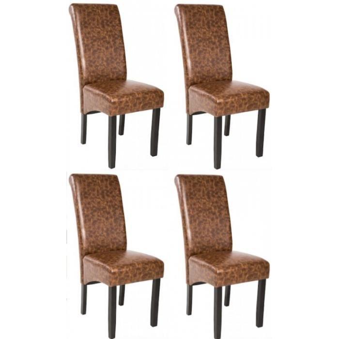 4 chaises de salle manger marron 1908101 achat vente for Chaise salle a manger de qualite