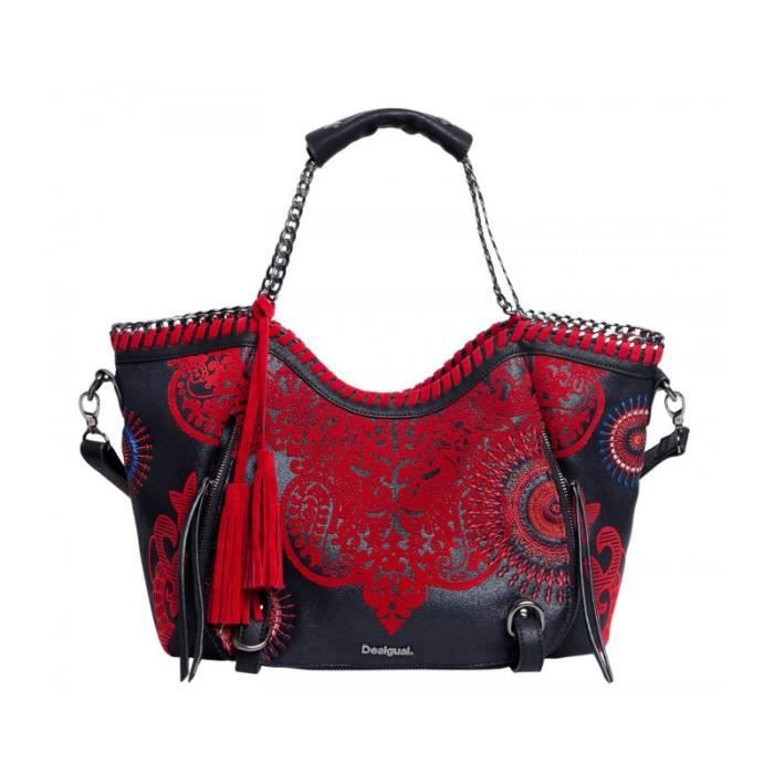 sac main desigual rouge avec motifs fa on cuir lani re pictures to pin on pinterest. Black Bedroom Furniture Sets. Home Design Ideas