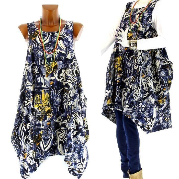 Robe tunique ethnique collier pop femme bleu bleu achat vente robe - Vetement ethnique discount ...