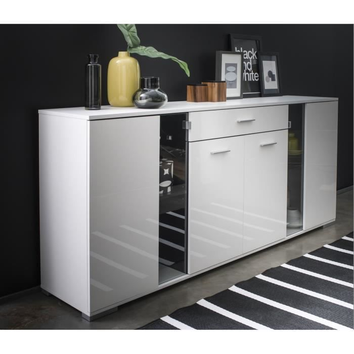icy enfilade 206cm blanc brillant achat vente buffet bahut icy enfilade blanc brillant. Black Bedroom Furniture Sets. Home Design Ideas