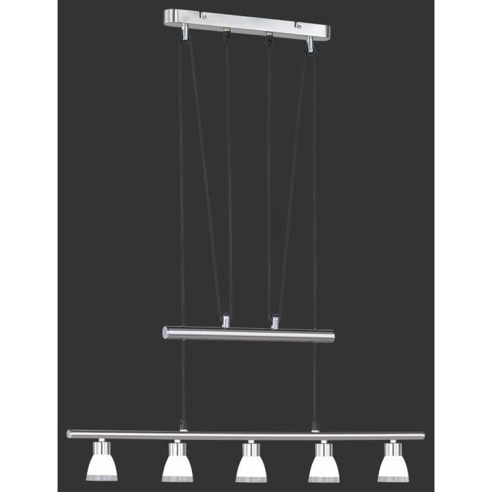suspension longue 75 cm 5 ampoules en nickel et achat vente suspension longue 75 cm 5 a. Black Bedroom Furniture Sets. Home Design Ideas