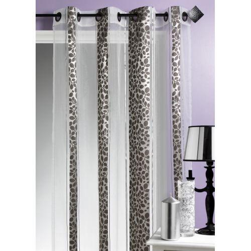 rideau motif feuillage gris 140 x 260cm achat vente rideau voilage organza 100 polyester. Black Bedroom Furniture Sets. Home Design Ideas
