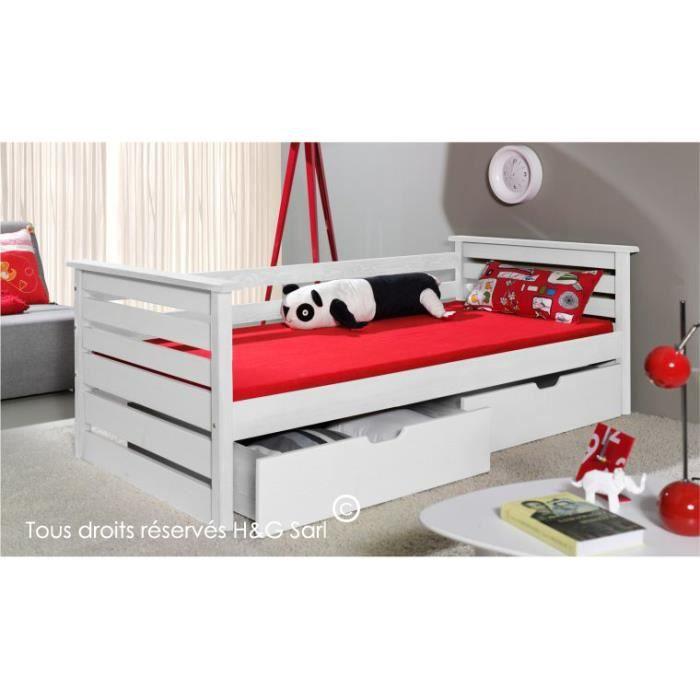 lit 90x200 enfant katia blanc sans matelas blanc achat vente structure de lit cadeaux de. Black Bedroom Furniture Sets. Home Design Ideas