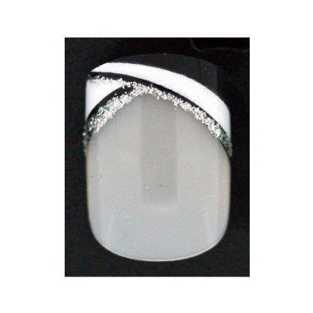 boite 24 faux ongles french noir et blanc d co achat. Black Bedroom Furniture Sets. Home Design Ideas