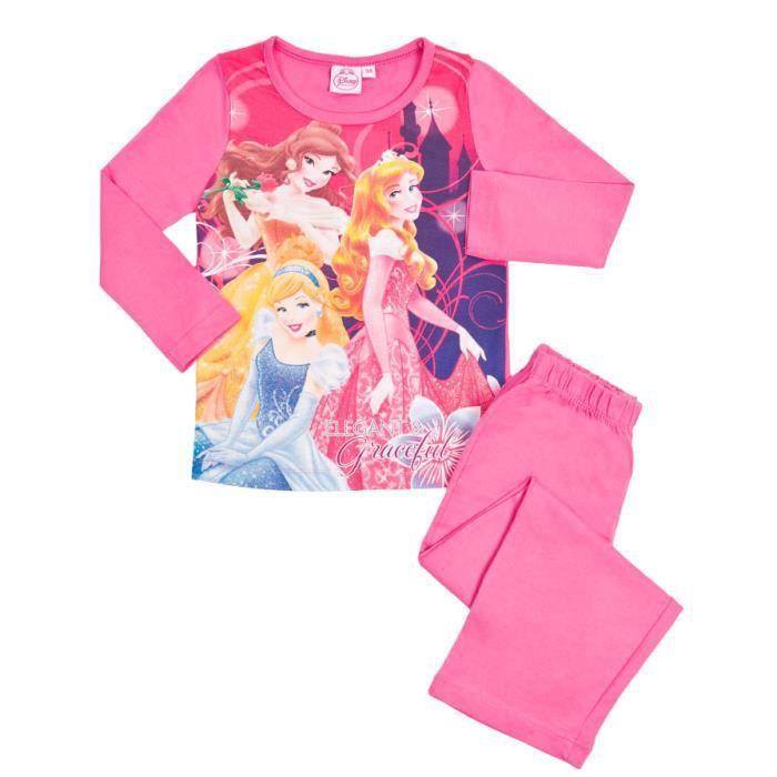 pyjama fille princesses coton manches longues fuchsia. Black Bedroom Furniture Sets. Home Design Ideas