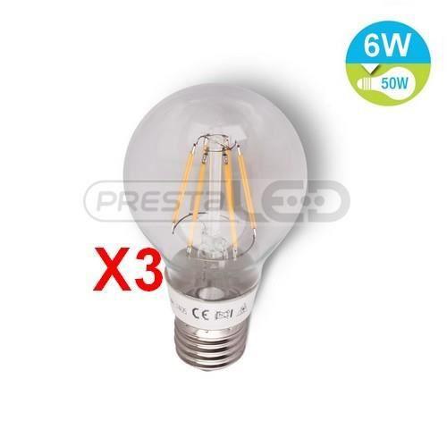 3 ampoule lampe led e27 filament 6w blanc chaud achat vente ampoule led cdiscount. Black Bedroom Furniture Sets. Home Design Ideas
