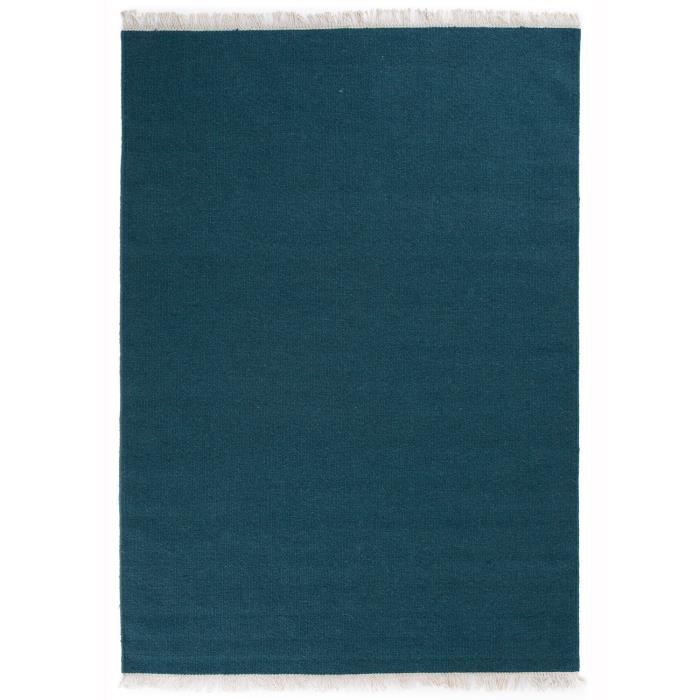 tapis kilim uni rainbow bleu fonce 200x300 par. Black Bedroom Furniture Sets. Home Design Ideas