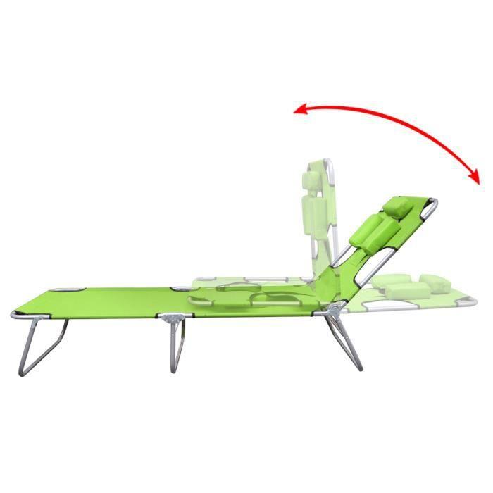 Chaise longue pliable avec t te coussin dossier - Coussin de chaise avec dossier ...