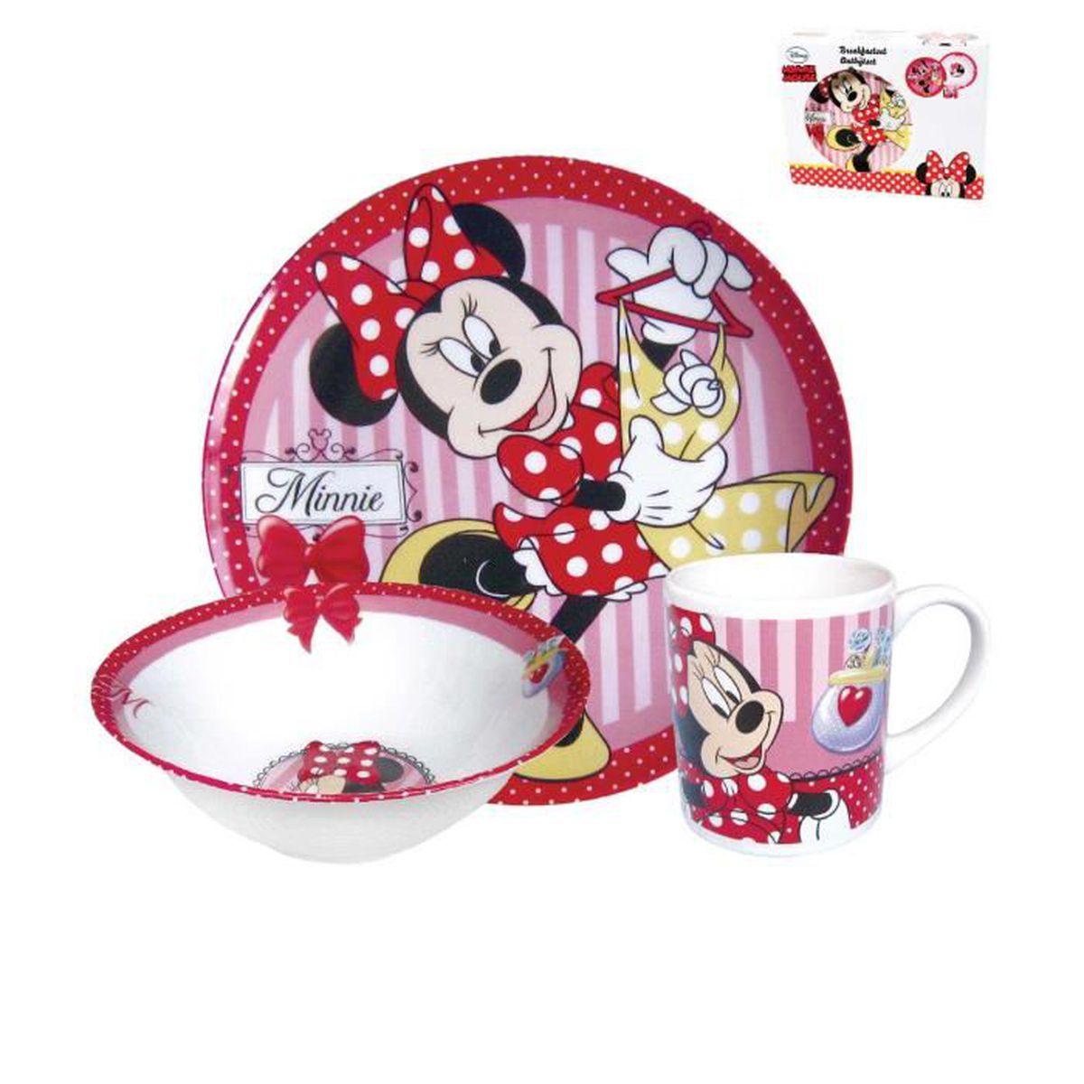 Disney minnie set petit d jeuner 3 pi ces porcelaine for Set petit dejeuner porcelaine