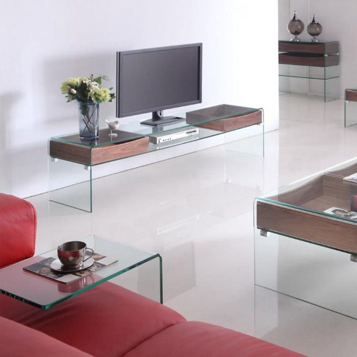Meuble t l glasswood en verre et bois achat vente for Meuble tele en verre