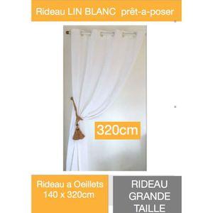 rideaux blanc en lin achat vente rideaux blanc en lin pas cher les soldes sur cdiscount. Black Bedroom Furniture Sets. Home Design Ideas