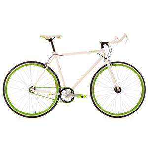 """VÉLO DE COURSE - ROUTE Vélo fitness 28"""" Flip Flop blanc-vert guidon Bullh"""