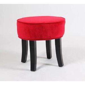 TABOURET Tabouret Velours rouge Adriel en polyester, L.35 x