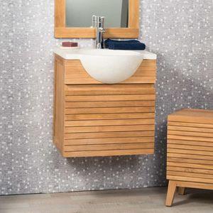 ensemble meuble salle de bain teck - achat / vente ensemble meuble ... - Meuble Salle De Bain Teck Suspendu