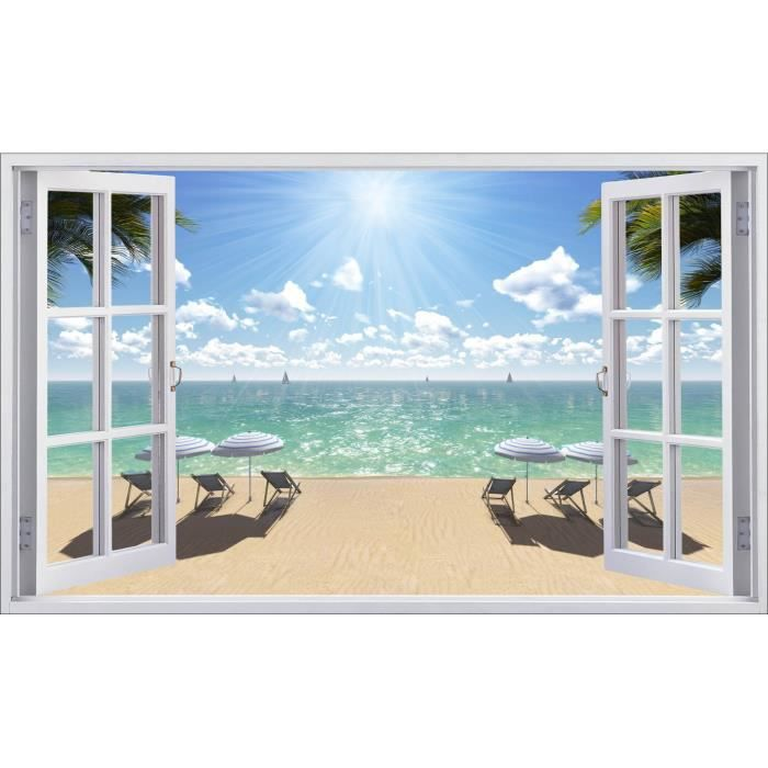 Sticker fen tre d co plage r f 5391 dimensions 60x36cm for Deco maison de plage
