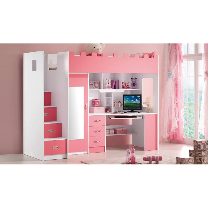 lit multifonction pour fille lolo rose achat vente lit combine cdiscount. Black Bedroom Furniture Sets. Home Design Ideas