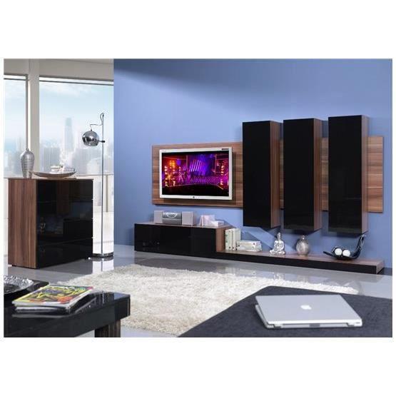 Meuble tv design mural lime bois et noir composition - Meuble tv but noir ...
