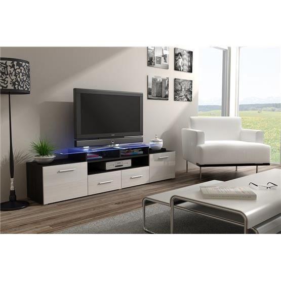 Meuble tv design Evori wengé et blanc - Achat / Vente ...