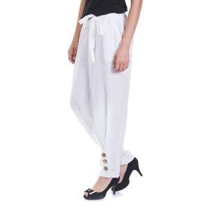 pantalon femme en lin achat vente pas cher cdiscount. Black Bedroom Furniture Sets. Home Design Ideas