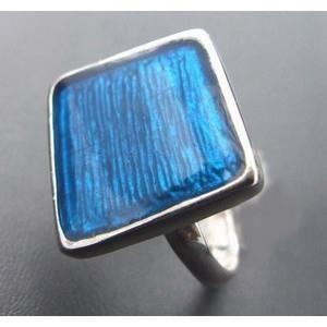 BAGUE - ANNEAU Bague carrée bleue