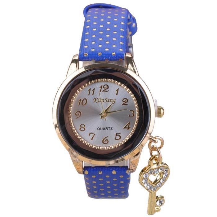 Bracelet montre quartz pu bande de cuir motif de points et de d coration en strass achat for Montre decoration