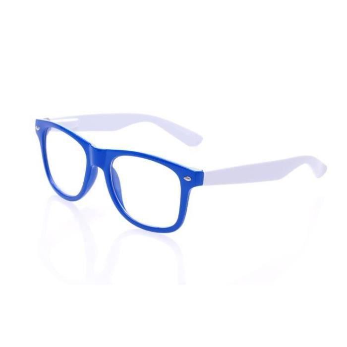 fausse lunette de vue style wayfarer bleue branche blanche achat vente lunettes de vue. Black Bedroom Furniture Sets. Home Design Ideas