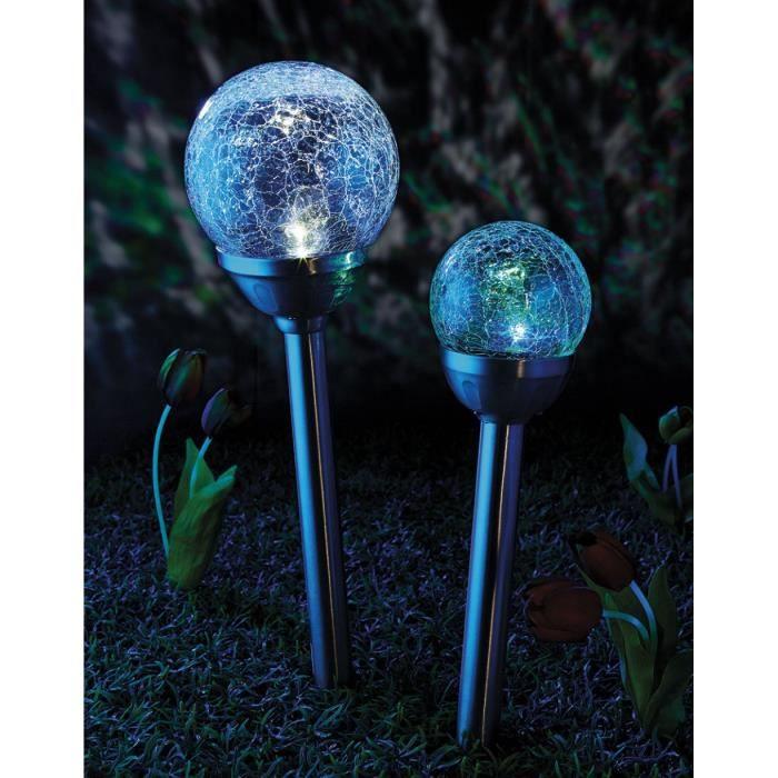 Lot de 2 lampes solaires led changeante 27 cm achat vente lot de 2 la - Lampe led couleur changeante ...