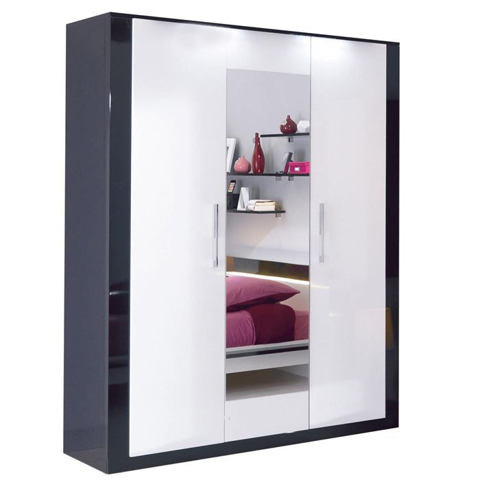 armoire 4 portes avec miroir scoop blanc et noir achat. Black Bedroom Furniture Sets. Home Design Ideas