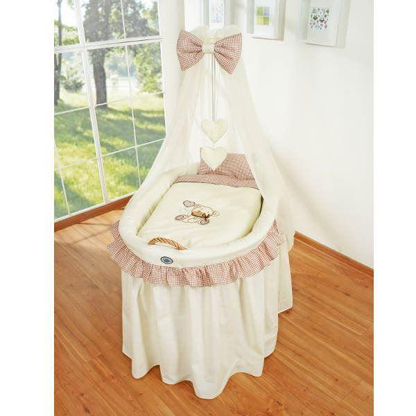 Berceau b b en osier complet avec textile beige achat vente berceau et s - Cdiscount berceau bebe ...